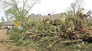 Tornado debris in New Hope. Image courtesy of the Commercial Dispatch